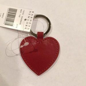 Barney's New York Leather Heart Keychain NWT